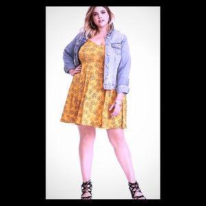 Torrid-  Gorgeous Mustard Colored Rose Print Dress